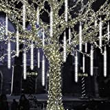 Phattopa LED Falling Rain Lights Waterproof Meteor Shower Lights 30cm 10 Tubes 240 LEDs, Falling Raindrop Christmas Lights Cascading Icicle String Lights for Holiday Wedding Party Decoration (White)