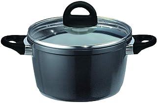 ELO 63425 Black Vision - Olla de Aluminio Fundido con Tapa (24 cm), Color Negro