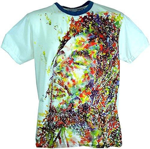 GURU SHOP Weed T-Shirt, Herren, Bob Marley Weiß, Baumwolle, Size:L, Bedrucktes Shirt Alternative Bekleidung