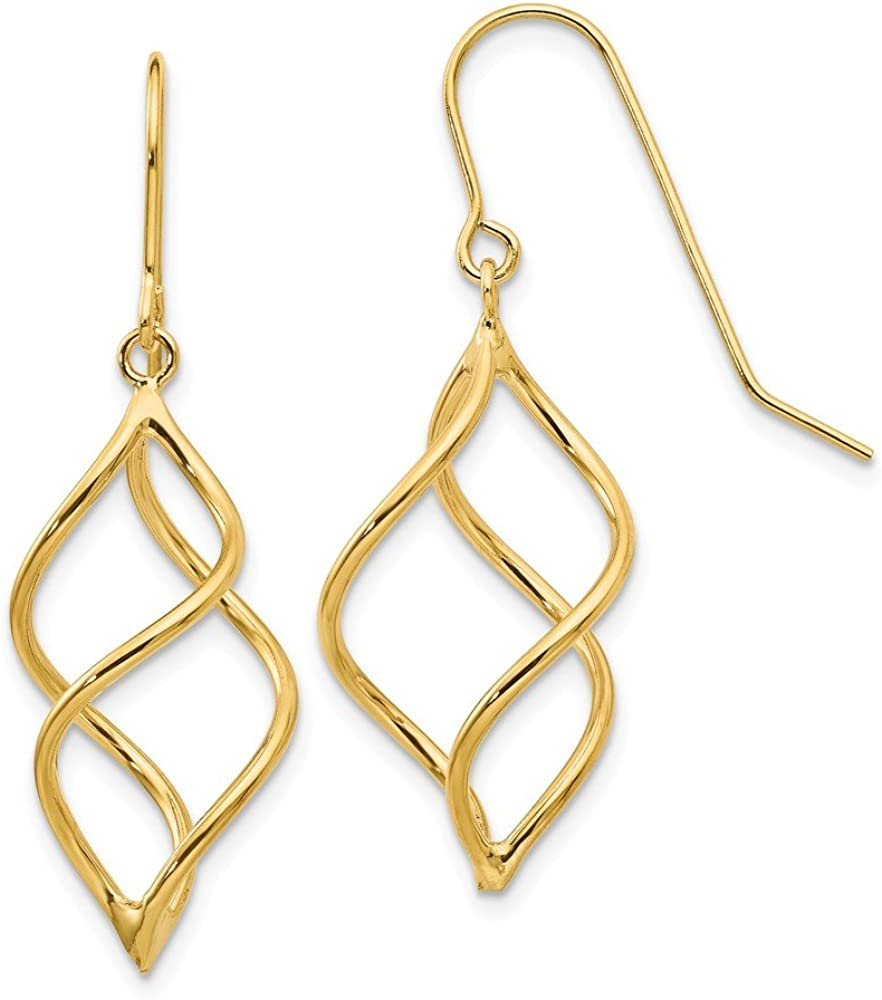 14k Yellow Gold Short Twisted Drop Dangle Chandelier Earrings Fine Jewelry For Women Gifts For Her