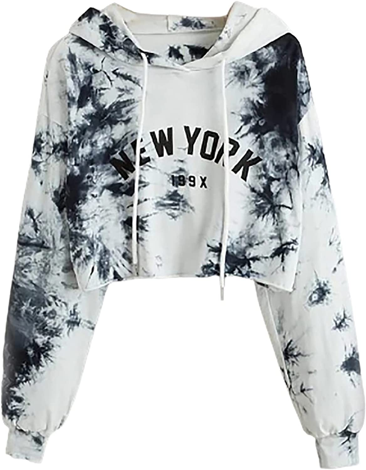 977 Women's Gradient Long Sleeve Hoodie Funny Graphic Print Casual Pullover Cute Short Tie-Dye T Shirt Blouse