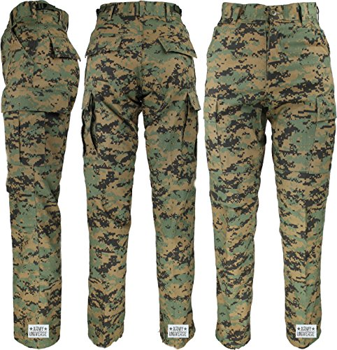 Army Universe Woodland Digital Camo Military BDU Cargo Pants with Pin (W 39-43 - I 29.5-32.5) XL