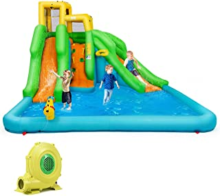 BOUNTECH Inflatable Bounce House, Mighty Water Pool with Two Slides, Climbing Wall, Basketball Rim, Splash Pool, Water Cannon, Including Carry Bag, Repairing Kit, Stakes, Hose (with 680W Air Blower)