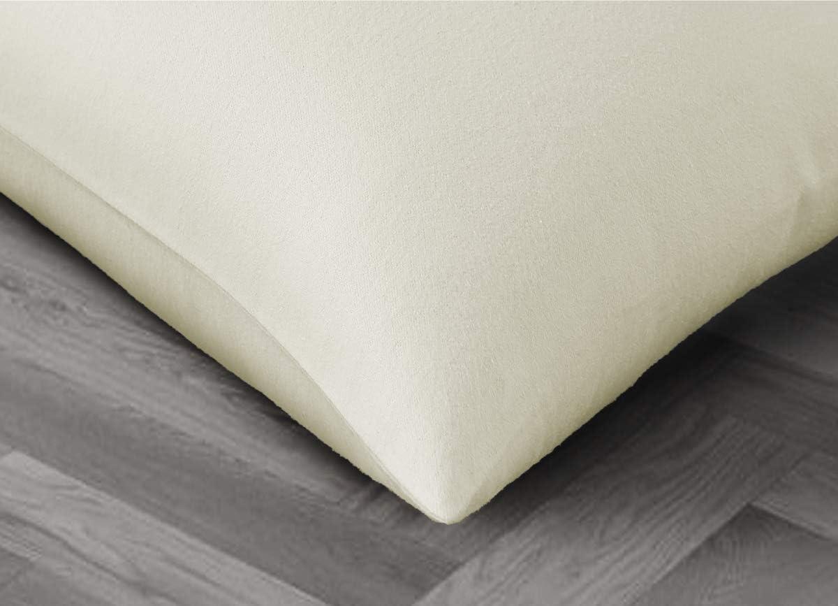 Doux Ecru 50x70 cm Velvet Flannel Lot de 2 taies d/'Oreiller 100/% Flanelle De Coton Tissage tr/ès raffin/é Caressant /& Chaud Bed Couture Toucher veloute