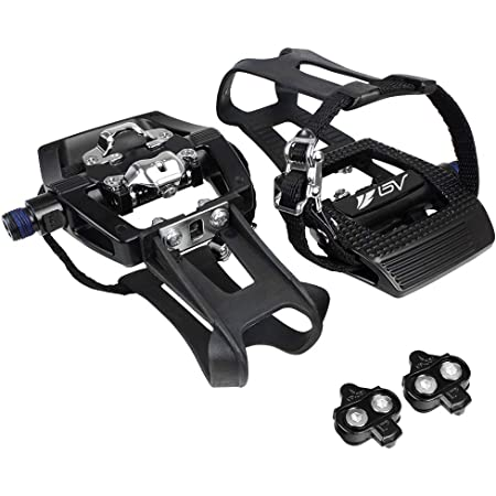 BV Bike Shimano SPD Compatible 9/16'' Pedals with Toe Clips (SPD Cleats included) - MTB/Spin/Indoor/Exercise/Peloton Bicycle Pedals