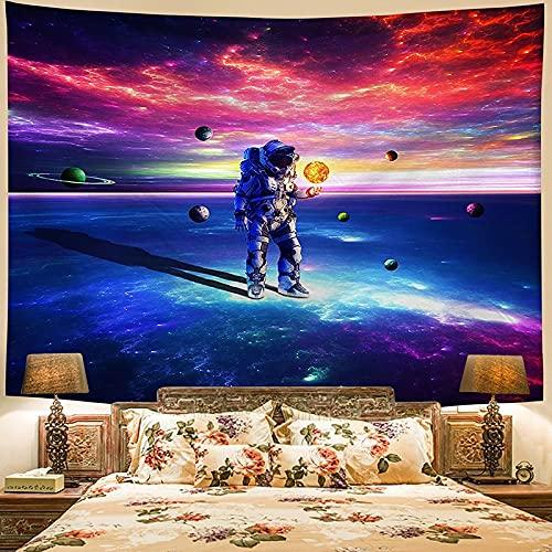 KHKJ Tapiz Decoración para el hogar Impresión de Astronauta Paisley Colgante de Pared Colchoneta de Yoga Almohadilla para Dormir Tapiz de Viaje Alfombrillas de Planeta Grandes A13 230x180cm