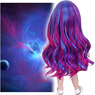 STfantasy Doll Wig for 18 Inches American Girl Doll AG OG Journey Girls Gotz My Life Ombre Purple Curly Synthetic Hair Lolita Girls Gift