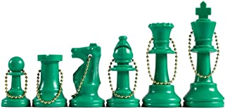 WE Games Keychain Bag Tag Chessmen -Includes 17 Pieces in Green