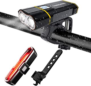 TANSOREN Latest Upgrade Aluminum Alloy Bike Mount USB Rechargeable Bicycle Light Front and Back Set, 2000 Lumens LED Lamp Bike Headlight and COB Tail Light -Waterproof 5 Light Modes for Road Cycling