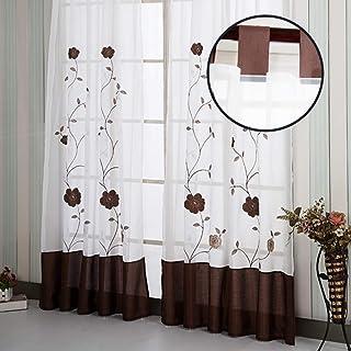 SIMPVALE 1 Pieza Cortinas Visillos Bordado Floral para Balcon, Salón, Habitación, Dormitorio y Cámara, 140cm x 245cm, Marrón