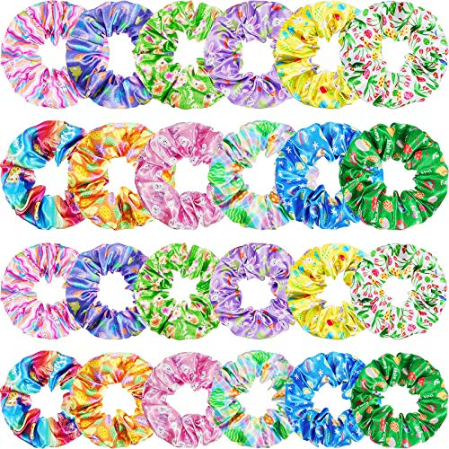 24 Pieces Easter Scrunchies Eggs Scrunchies Bunny Scrunchies Rabbit Hair Scrunchies Easter Elastic Hair Band Tie for Easter Decoration Women Girls, 12 Styles, 3.15 Inch, 3.94 Inch