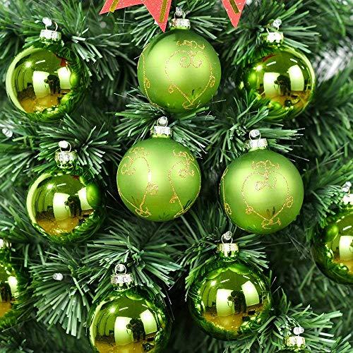 Ecosides 12 PCS 6.7cm Verde Palle di Natale in Vetro, Addobbi Natalizi Decorazione di Ornamenti Palla di Natale per la Decorazione dell'albero di Natale