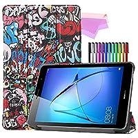 Billionn Huawei MatePad T8(kobe2-L03 / KOB2-L09)タブレット用フォリオ3つ折りスタンドスマートケース[超薄型] [超軽量]、落書き