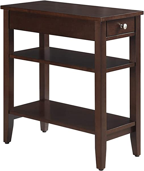Convenience Concepts American Heritage 3 Tier End Table With Drawer Espresso