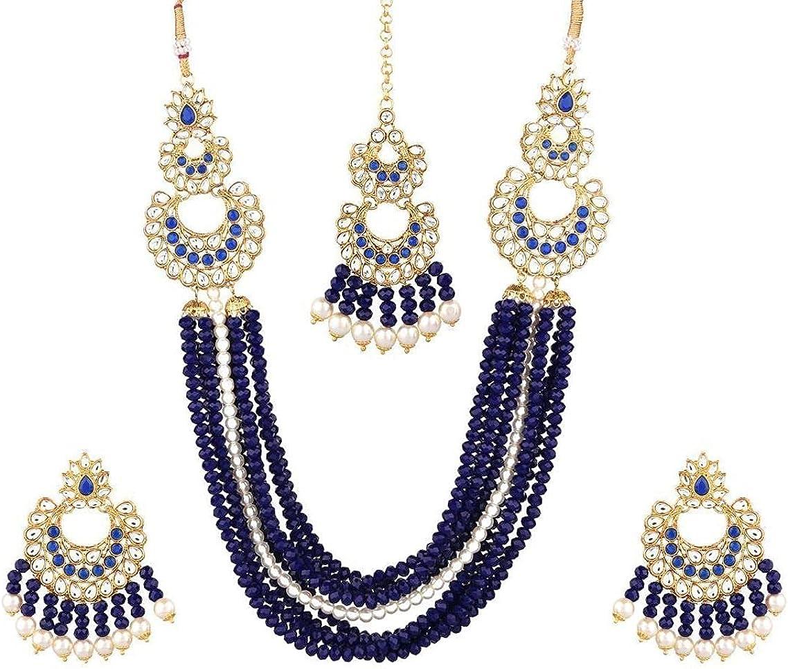 Efulgenz Indian Jewelry Kundan Crystal Faux Pearl Multi Layered Strand Beaded Necklace Chandbali Earrings Maang Tikka Head Chain Bollywood Jewelry Set