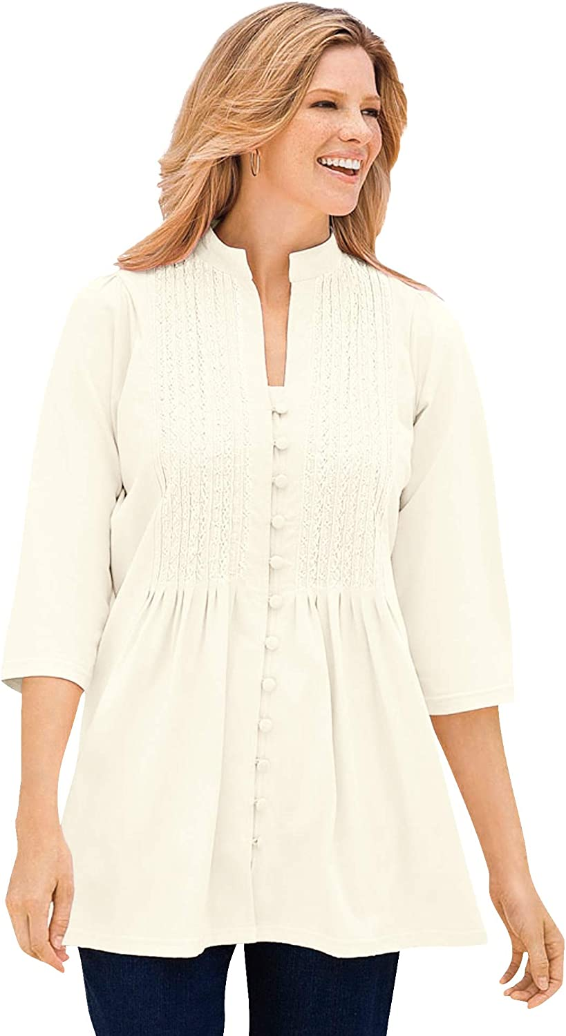 Woman Within Women's Plus Embroidered New Orleans Mall Size National products Tunic Pleated