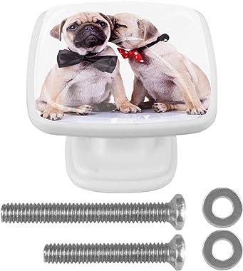 WARMFM Pugs Love Pull Handles for Drawer Dresser Cabinet Cupboard Kitchen 4 Pieces