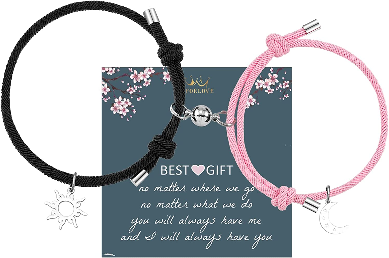 2Pcs Heart Magnetic Bracelet Couple Bracelets Long Distance Relationship Rope Bracelet Friendship Matching Bracelets for Her His Girlfriend Boyfriend BFF Best Friend