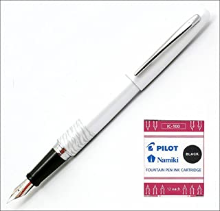 Pilot Metropolitan Fountain Pen, White Tiger, Medium nib & 12-pk Ink Cartridges