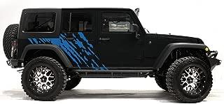 Factory Crafts Splash Side Graphics Kit 3M Vinyl Decal Wrap Compatible with Jeep Wrangler 4 Door 2007-2016 - Azure Blue
