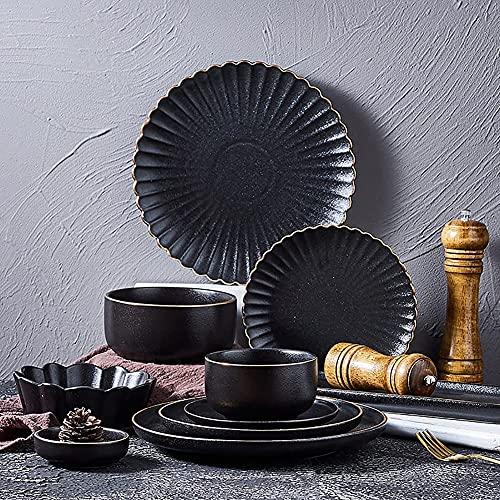 HGJINFANF Juego de vajillas de cerámica, 15 pcs Mate Mate Negro Platos Retro y Cuencos Conjuntos de Cena de Borde Irregular japonés, Servicio for 4