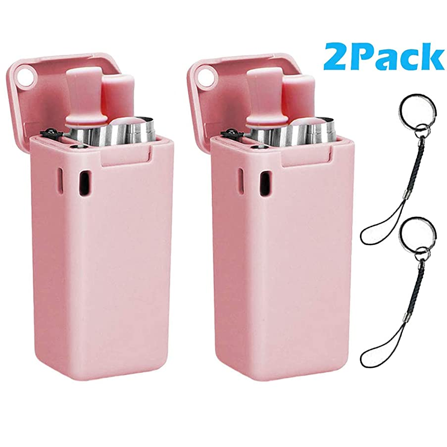 Collapsible Stainless Steel Straws 2 Pack, Professional Foldable Food Grade Drinking Straws, Reusable Folding Straws Portable Set with Keychain Hard Case Holder and Cleaning Brush (Pink + Pink)