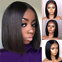 Straight 4x4 Lace Front Wigs Brazilian Remy Human Hair Wig Short Bob Wig Pre Plucked With Baby Hair For African American Women 8 inch Halo Lady Hair