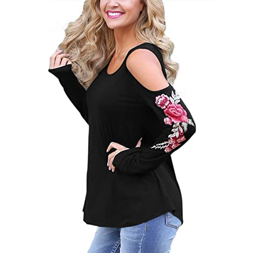 50cee94c0606b7 Annflat Women s Cold Shoulder Rose Embroidered Long Sleeve Loose T-Shirt  Work Blouse Tops Small
