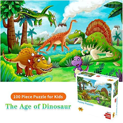 HUADADA Puzzle 100 Teile für Kinder Puzzles ab 3-8 Jahren Bestes Lernspielzeug Spiel für Junge, Puzzle 100 Teile Kinderpuzzle Alt--Welt der Dinosaurs Puzzle.