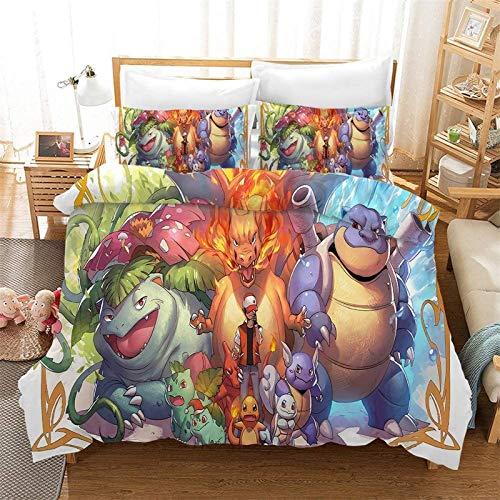 Juego de ropa de cama Pokémon Pokémon Pokémon, funda de edredón, 100% microfibra, impresión digital 3D, juego de 3 piezas, 2 fundas de almohada (A01, individual 135 x 200 cm + (80 x 80 cm) × 2)
