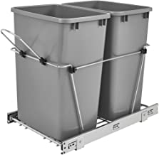 Rev-A-Shelf RV-18KD-17C S Double 35 Quart Sliding Pull Out Kitchen Cabinet Waste Bin Container, Gray