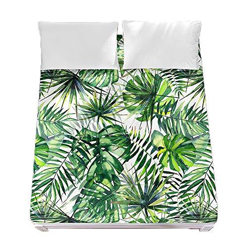 Sábana Bajera Ajustable Colchones Decorativa Verde 3D Plantas Tropicales Impresión, Chickwin Suave Microfibra Tela- Elástico en el Borde Bolsillo Profundo 30cm (Selva Verde,200x200x30cm)