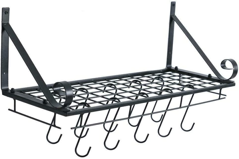 Wall Mounted Hanging Fees free Pan Pot Rack Max 71% OFF H with Shelf Cookware Utensils
