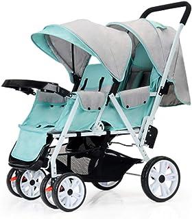 Okänd DZWSD tvillingskåpbil barnsportbil avtagbar Mealplate Infant Carriage kan sätta i och lägga i. Lätt vikbar dubbel va...