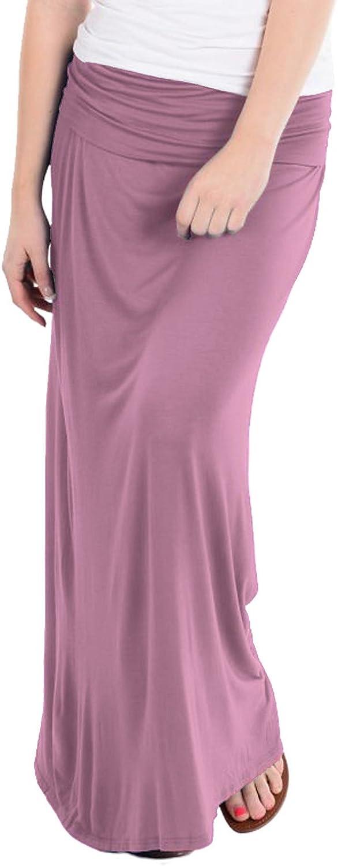 Hybrid & Company Women Versatile Fold Over Waist Maxi Skirt/Convertible Dress