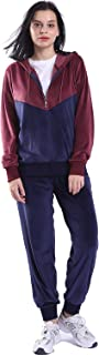 Women's Tracksuit Set Jogging Sweatsuits Casual Full Zip Running Sports Color Block Sweat Suit Set Navy & Burgundy Small