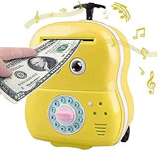 Shine Toys Ave 28th Kids Big Eyes Electronic Password Auto Scroll Paper Money Box Safe Piggy Bank (Yellow)