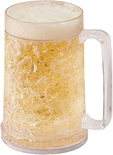 Double Wall Gel Freezer Mug - 4-Pack 16oz Frosty Beer Mugs with Handle, Shatterproof Drinking Cup, Clear, 3.5 x 6.1 Inches