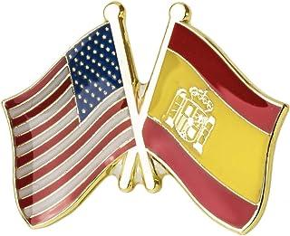 Pin de Solapa Bandera de Estados Unidos y Bandera de España   Pines Originales Para Regalar   Para las Camisas, la Ropa o ...