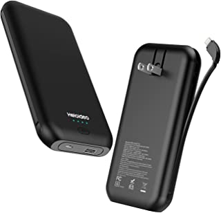 Heloideo 15000mAh Power Bank with AC Plug, Fast Charging Portable Charger with Cable (Matt Black)