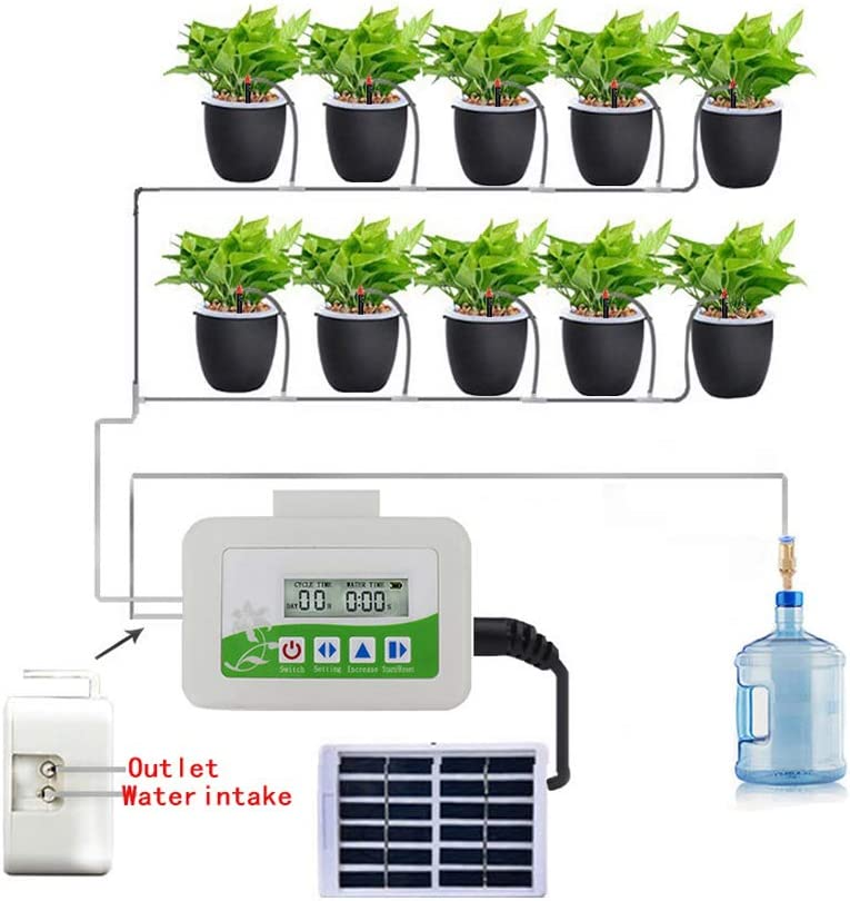LMTXXS Automatic Drip Irrigation System, Solar Powered Timer Micro Drip Irrigation Kit Adjustable Nozzle Watering Kits,Garden Micro Plant Watering System for Garden Houseplants