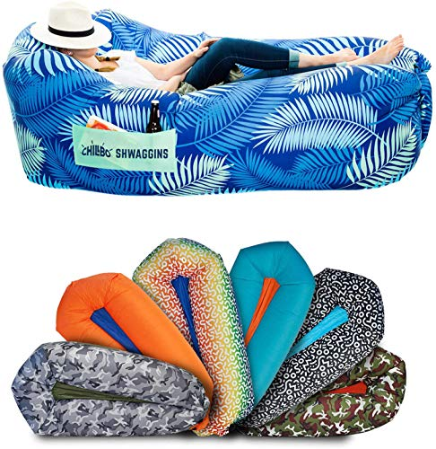 Chillbo Shwaggins Inflatable Couch – Cool Inflatable Chair. Upgrade Your Camping Accessories. Easy Setup is Perfect for Hiking Gear, Beach Chair and Music Festivals. (A Blue Leaf)