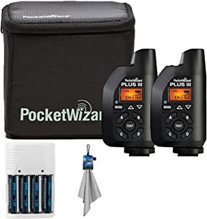 PocketWizard Plus III Bonus Bundle Includes 2 Plus III Transceiver with Case + Photo4less Rapid Charger and 4 Nimh Batteries + Spudz Cleaning Cloth