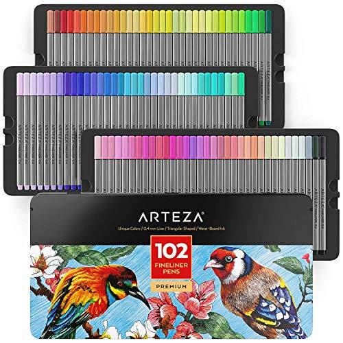 ARTEZA Estuche de rotuladores de punta fina | 102 colores | Puntas de 0,4 mm | Rotuladores finos ergonómicos | Estuche metálico resistente | Marcadores finos para colorear y dibujar con detalle