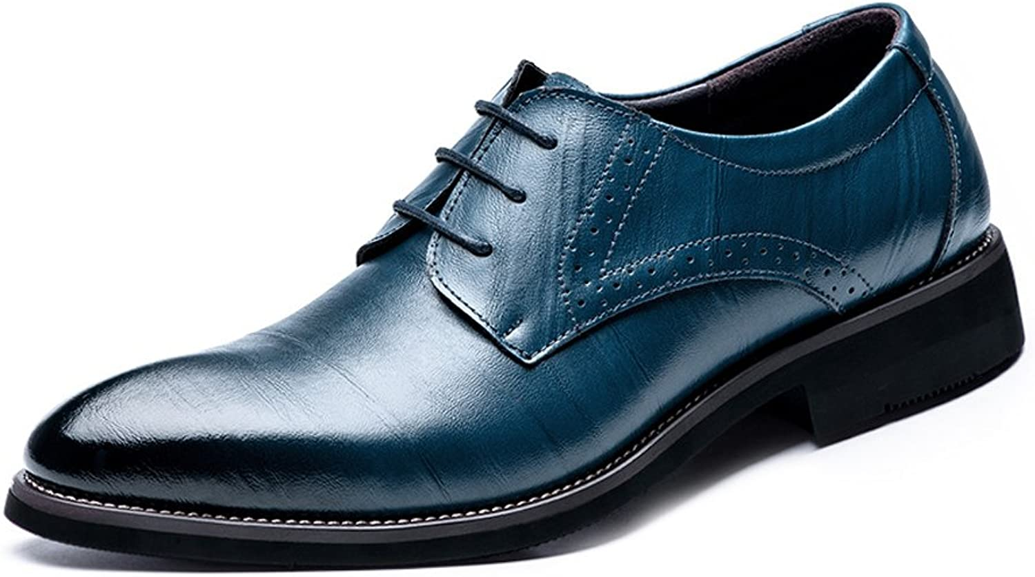 JIALUN-shoes Simple Men's Genuine Leather shoes Lace Up Breathable Business Low Top Lined Oxfords
