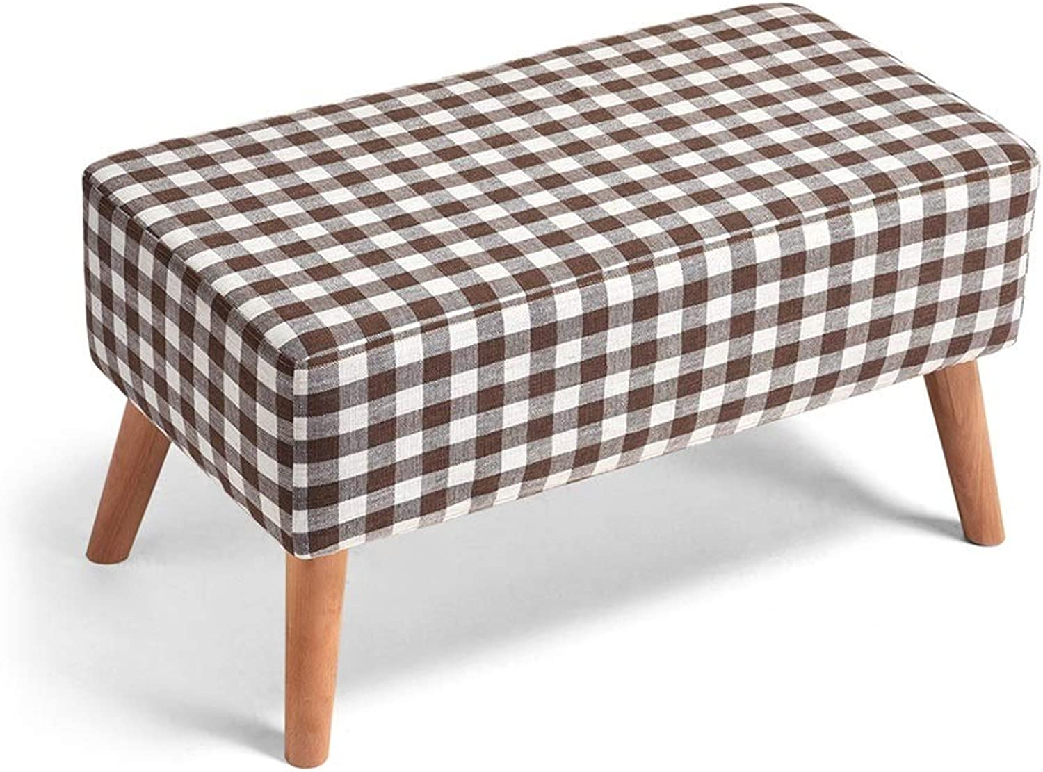 ZH STOOLS Sofa Stool, Solid Wood Small Bench Handmade Cotton Linen Multifunction Ergonomics Change shoes Stool for Living Room Entrance (color   Lattice, Size   No Storage)