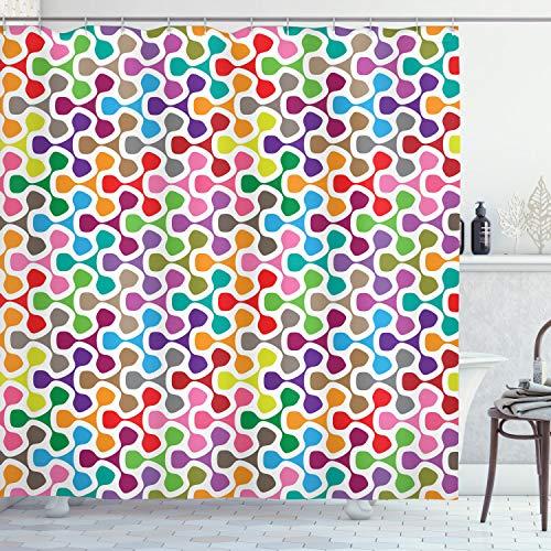 ABAKUHAUS Bunt Duschvorhang, Bunte Kurve Muster, Leicht zu pflegener Stoff mit 12 Haken Wasserdicht Farbfest Bakterie Resistent, 175 x 180 cm, Multicolor