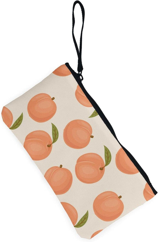 AORRUAM Peach Canvas Coin Purse,Canvas Zipper Pencil Cases,Canvas Change Purse Pouch Mini Wallet Coin Bag