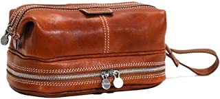 Positano Travel Kit, Leather Toiletry Bag in Olive Brown