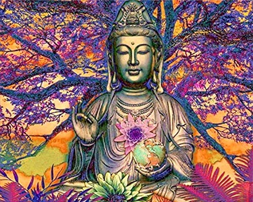 DIY 5D Diamond Painting by Number Kits, Diymood Painting Purple Tree Buddha Statue Paint with Diamonds Arts Full Drill Canvas Picture for Home Wall Decor 40x50cm(16x20inch)